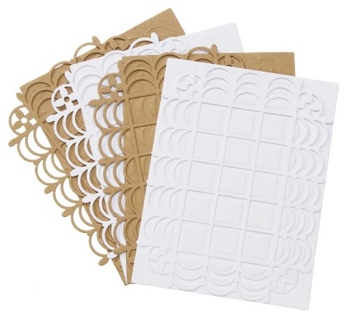 A2 Card Embossing Folder (Darice DT-GX-7200-31 12-Pack David Tutera Celebrate Step 2 Card Layer, A2, Lace Grid)
