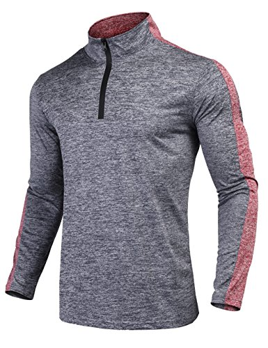 JINIDU Men's Quarter Zip Active Pullover Quick Dry Long Slee