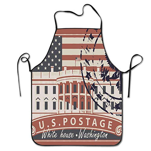 PoppyAnthony Jianyue Postage Stamp with White House in Washington DC Cooking Apron Personalized Chef Apron for Women Men Kitchen Bib Apron