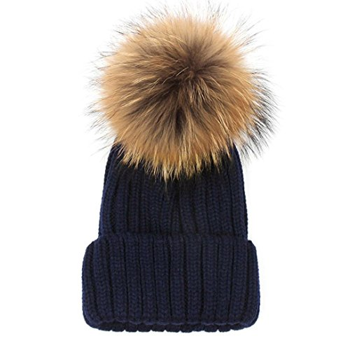 Luxehome Womens Girls Winter Premium Large Raccoon Fur Pom Pom Cap Knit Beanie Hat