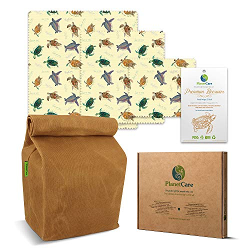 (PlanetCare Premium WAXED CANVAS LUNCH BAG & BEESWAX WRAPS SeaTurtle Edition: The ultimate ECO FRIENDLY LUNCH SET! 100% Biodegradable, and plastic free: REUSABLE, SUSTAINABLE, WASHABLE & NATURAL)