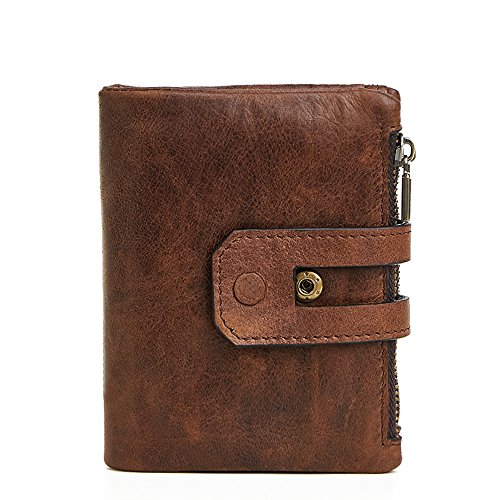 Artwell Genuine Leather RFID Blocking Bifold Wallet Double Zipper Large Capacity Money Pocket Purse Cards Holder for Man (Coffee) - Bi Fold Snap