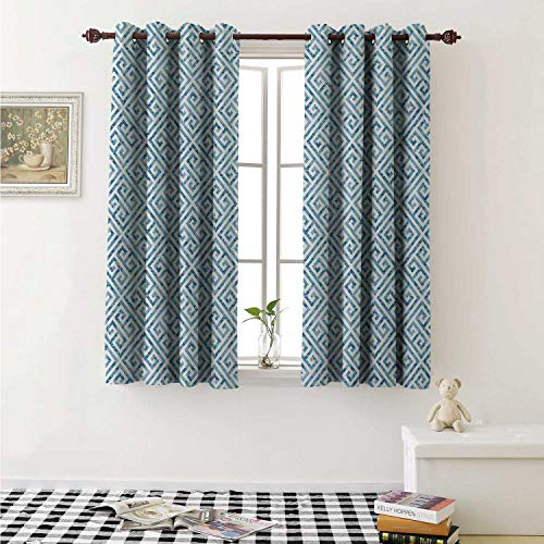(shenglv Greek Key Decorative Curtains for Living Room Tile Mosaic Pattern in Blue and White with Antique Meander and Camo Effect Curtains Kids Room W72 x L72 Inch Baby Blue White)