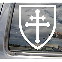 Cross of Lorraine Shield Knight Crusade - Cars Trucks Moped Helmet Hard Hat Auto Laptop Vinyl Decal Window Wall Sticker 10037