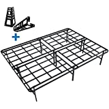 HOMUS Queen Platform Bed Frame/16 Inch High Heavy Duty Mattress Base/Easily Assembly by 4 Bolts/No Box Spring Needed/Non Slip/Quiet Noise Free/Solid/ Sturdy/Black (Queen)