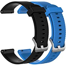 ECSEM 2pcs 20mm Replacement Silicone Bands for Ticwatch 2 Smartwatch (Charcoal, Snow, Oak, Onyx)