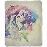 BlueKeyStudio Watercolor Painting Of Lion Abstract Colorful Art Blanket, Lightweight Microfiber Baby
