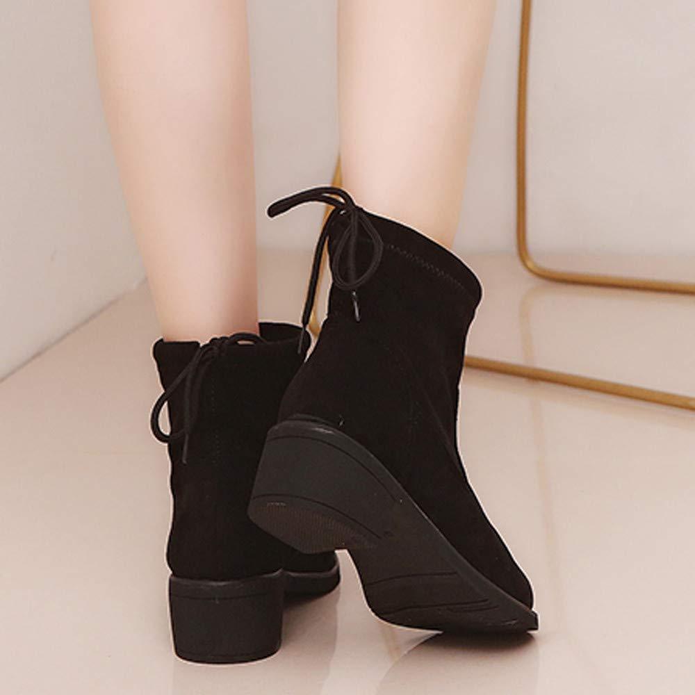 Oudan Bottes Femmes Chaussures Bottines Mode Femme Daim Bout Compensées Rond Chaussures Compensées Bout Chaudes Bottes de Neige Chaussures (coloré : Noir, Taille : 35 EU)B07KHYLYYWParent 49da61