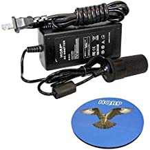 HQRP AC to 12V DC Car Charger Converter for Rapala Deluxe / ProGuide Deluxe PGEF1 Electric Fillet Knife, P008 AC Adapter + HQRP Coaster