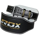 "RDX Leather 6"" Weight Lifting Belt Back Gym Strap Training Support Fitness Exercise Bodybuilding"