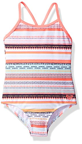 Roxy Girls Little Indi One Piece Swimsuit, Bright White Livin Dream Strip, 4