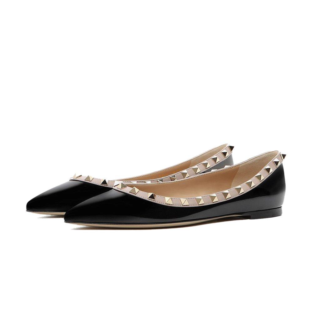 Chris-T Womens Studs Flat Strappy Buckle Shoes Pointy Toe Slingback Dress Pumps Flats 5-14 US B079C3QGHH 9 M US|Black