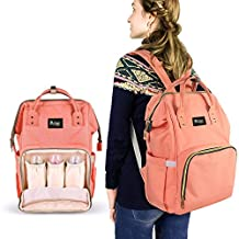 SENT CHARM Multifunction Large Capacity Backpack Baby Care Diaper Mummy Bag Portable Light Changing Bags with Water Bottle Frame (pink)