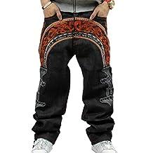 Men's Hip-hop Embroidered Printed Baggy Denim Rock Jeans Pants