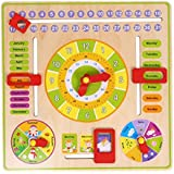 FidgetKute Wooden Number Colorful Clock Calendar Puzzle Toy Baby Kids Educational Toys