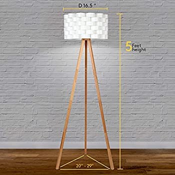 Brightech Bijou LED Tripod Floor Lamp - Mid Century Modern Standing Light for Contemporary Living Rooms - Alexa Compatible Tall Lamp for Bedroom or Office - Woven Drum Shade & Natural Wood