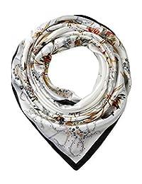 "corciova 35"" Large Women's Satin Square Silk Feeling Hair Scarf Wrap Headscarf Black White Floral Flowers Pattern"