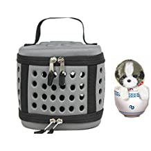 Portable Hamster Carrier Tote Bags Breathable EVA Travel Cage Kennel Tubes for Small Animals like Dwarf Squirrel Mice Ferrets Chinchilla hedgehog (dark grey)