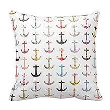 "Vintage Retro Sailor Girly Floral Nautical Anchors Pillow Fashion Throw Pillow Case Shell Decorative Cushion Cover 18 x 18"""