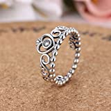 Sumanee Fashion Vintage Thai Silver Love Crystal Crown Ring For Women Girl Ring Jewelry (10)