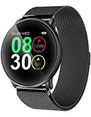Smart Watch, UMIDIGI Uwatch2 Bluetooth Smartwatch for Men Women Kids Compatible Android iOS, Ip67 Waterproof, Fitness Activity Tracker with Heart Rate Monitor(2 Bands) (Black)