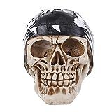 MonkeyJack 3D Gothic Skull with Black Headband Figurine Halloween Decorative Resin Collectible Steampunk Rave Cyber Goth Craft