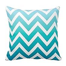 Turquoise White Ombré Chevron Zigzag Stripe Pillow Covers 20 x 20