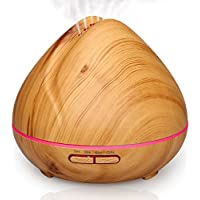 Aromatherapy Essential Oil Diffuser Aroma Diffuser Ultrasonic Cool Mist Humidifier with 7 Color LED Lights Changing Waterless Auto Shut off for home Office Bedroom Room , Qkfly 400ml Wood Grain