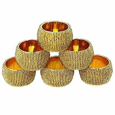 Handmade Indian Gold Beaded Napkin Rings - Set of 6 Rings