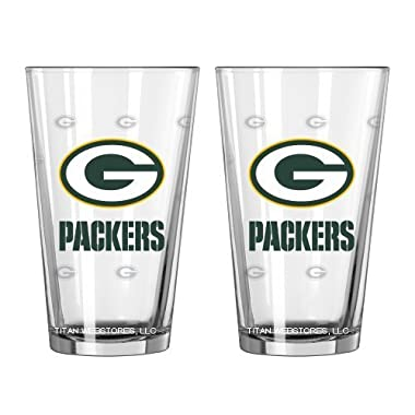 NFL Packers Pint Glasses | Green Bay Packers Beer Glasses, Set of 2
