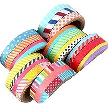 Set Of 6 Skinny Cool Decorative Labels Color Tape Sticky Tape