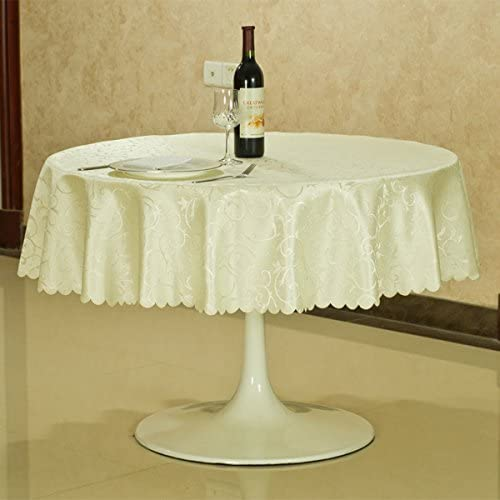 SFUDE Tablecloth - 118' Inch Round Tablecloth for Circular Table Cover in Light White Washable Polyester - Great for Wedding, Parties, Hotel & More