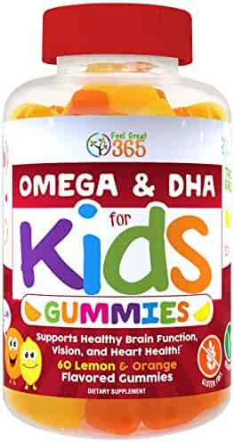 Complete DHA Gummies for Kids by Feel Great 365, Omega 3 6 9 from Algae, Chia, and Coconut Oil, Supports Healthy Brain Function, Vision, and Heart Health in a Dairy Free, Vegan, Chewable Supplement