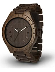 LAiMER Mens Wooden Watch BLACK EDITION - Wrist Watch made of natural Sandalwood - Nature & Lifestyle for Mens
