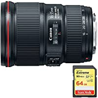 Canon EF16-35mm F4L IS USM Lens (9518B002) with Sandisk 64GB Extreme SD Memory UHS-I Card w/ 90/60MB/s Read/Write