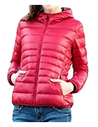 LD Womens Bomber Jacket Zip Up Hooded Quilted Winter Coat