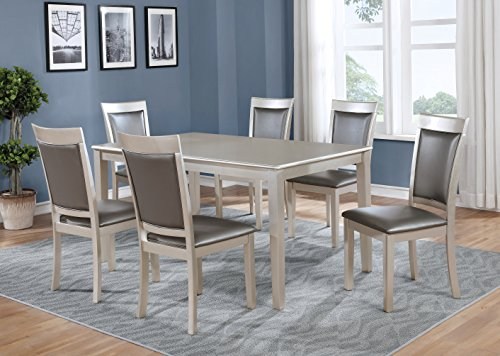 Roundhill Furniture T216-C215-C215-C215 Avignor 7-Piece Contemporary Simplicity Dining Set with 6 Chairs, Silver