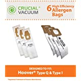6 Type I & Q Paper Bags for Hoover Platinum Upright/Canister Vacuums; Compare to Hoover Part Nos. AH10000, AH10005; Designed & Engineered by Think Crucial