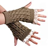 1Pair Stylish Lace Edge Knitted Winter Warm Fingerless Short Gloves- Soft Elastic Stretch Thumb Hole Short Mittens Arm Sleeves for Women Lady Girls (Khaki)
