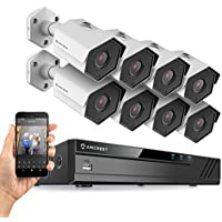 Amcrest 16CH Plug & Play H.265 4K NVR 2MP 1080P Security Camera System, (8) x 2-Megapixel 3.6mm Wide Angle Lens Weatherproof Metal Bullet PoE IP Cameras, 98 Feet Night Vision (White)