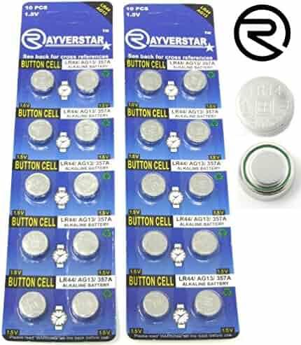 Rayverstar LR44 AG13 1.55 Volt Alkaline Battery, 20 Batteries. Fits: A76, GPA76, L1154F, L1154, 357A, 157, 303/357, SR44, SR44SW, EPX76, PX76, PX76A, Hexbug Compatible