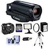 Canon VIXIA HF R800 3.28MP Full HD Camcorder, 57x Advanced Optical Zoom, Black - Bundle With 43mm UV Filter, Video Bag, 32GB SDHC Card, Video Light, Tripod, Spare Battery, Cleaning Kit, Card Reader