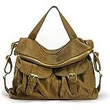 La Poet Women's Genuine Leather Convertible Crossbody Shoulder Hobo Bag (Taupe)