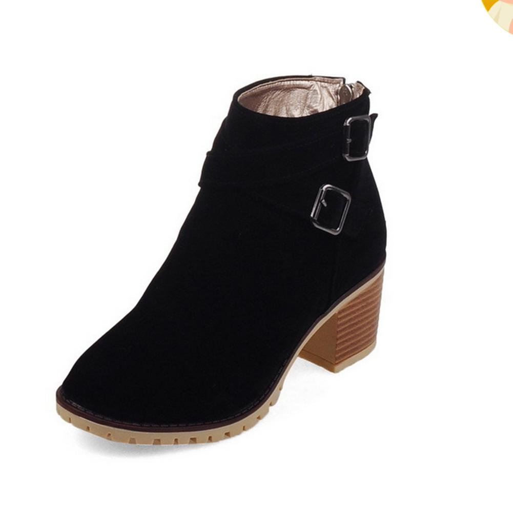 XIAOGANG H HFour Seasons Women (negro.) Beige. Azul. (amarillo) hebilla de cinturón matorral grueso talón botas cortas antideslizante de goma de desgaste inferior, black, 41