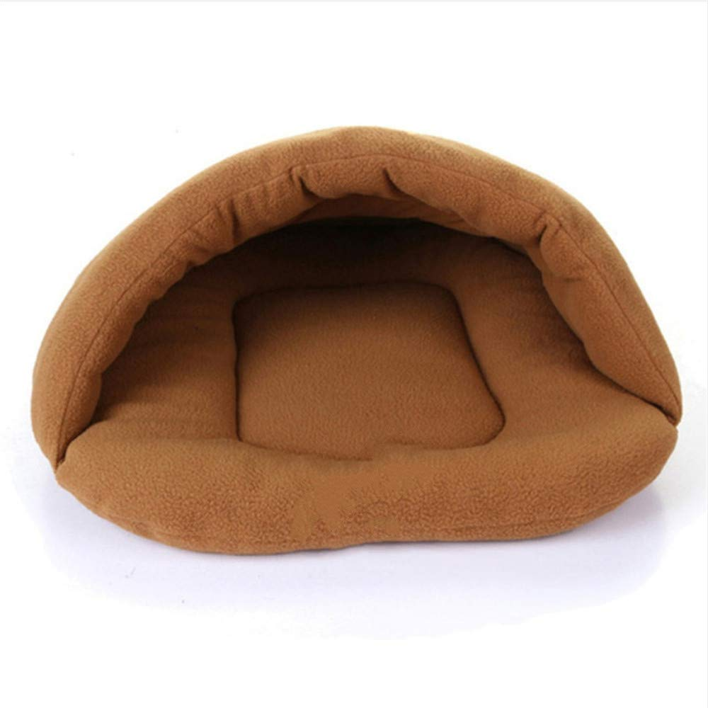 L Wuwenw 1Pc Soft Sleeping Bag Fleece Pet Mat Winter Warm Nest Pet Cat Rabbit Puppy Dog Kennel Bed Coffee color,L