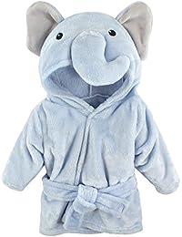 Unisex Baby Plush Animal Face Robe, Blue Elephant, One Size, 0-9 Months