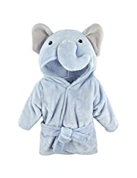 Hudson Baby Animal Plush Bathrobe, Blue Elephant, 0-9 Months