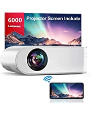 """YABER Mini WiFi Projector Portable [Projector Screen Included] Projector 1080P Full HD and 200"""", WiFi Screen Mirroring Projector Home Theater for PC/Smartphone/Tablet/PS4/TV Stick etc."""