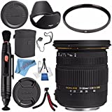 Sigma 17-50mm f/2.8 EX DC OS HSM Zoom Lens For Canon w/A{S-C Sensor #583101 + 77mm UV Filter + Lens Pen Cleaner + Fibercloth + Lens Capkeeper + Deluxe Cleaning Kit + Flexible Tripod Bundle