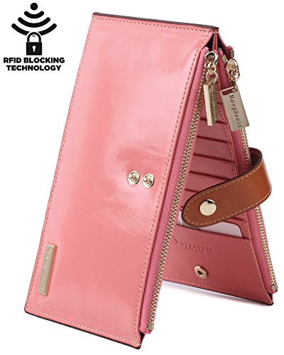 Amazon #LightningDeal 80% claimed: Borgasets RFID Blocking Women's Genuine Leather Zipper Wallet Card Case Purse (Pink)